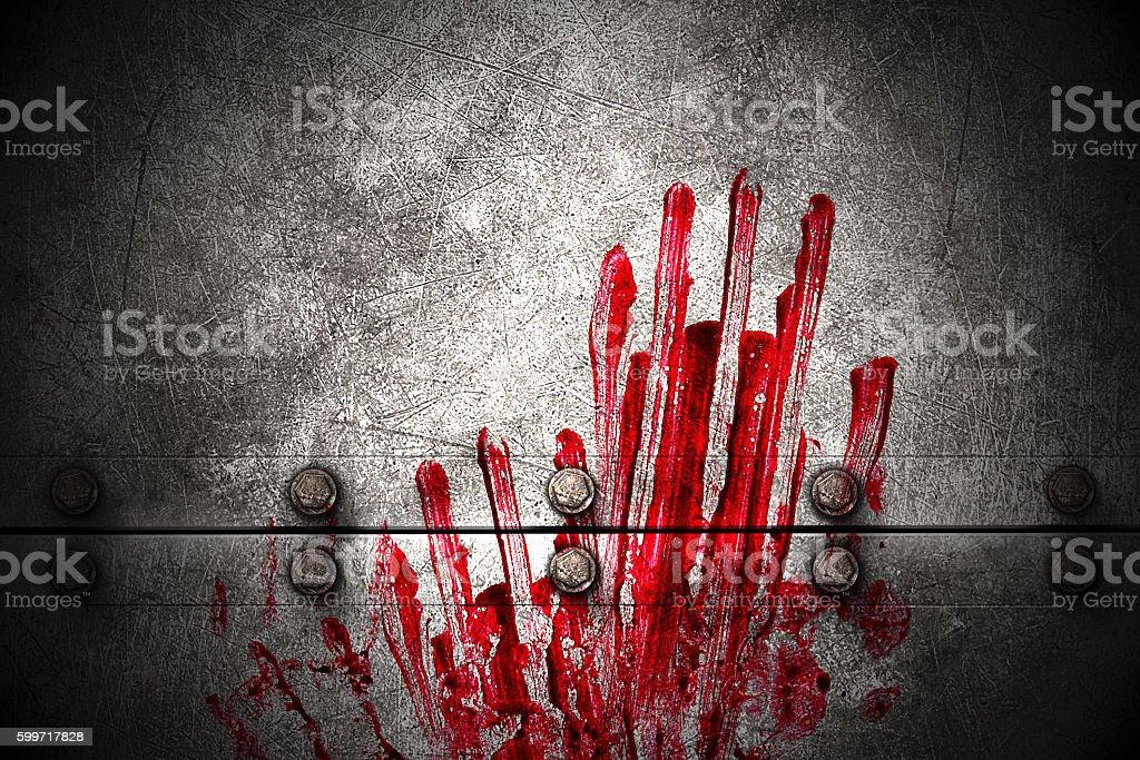 set 8. bloody handprint on metal wall stock photo