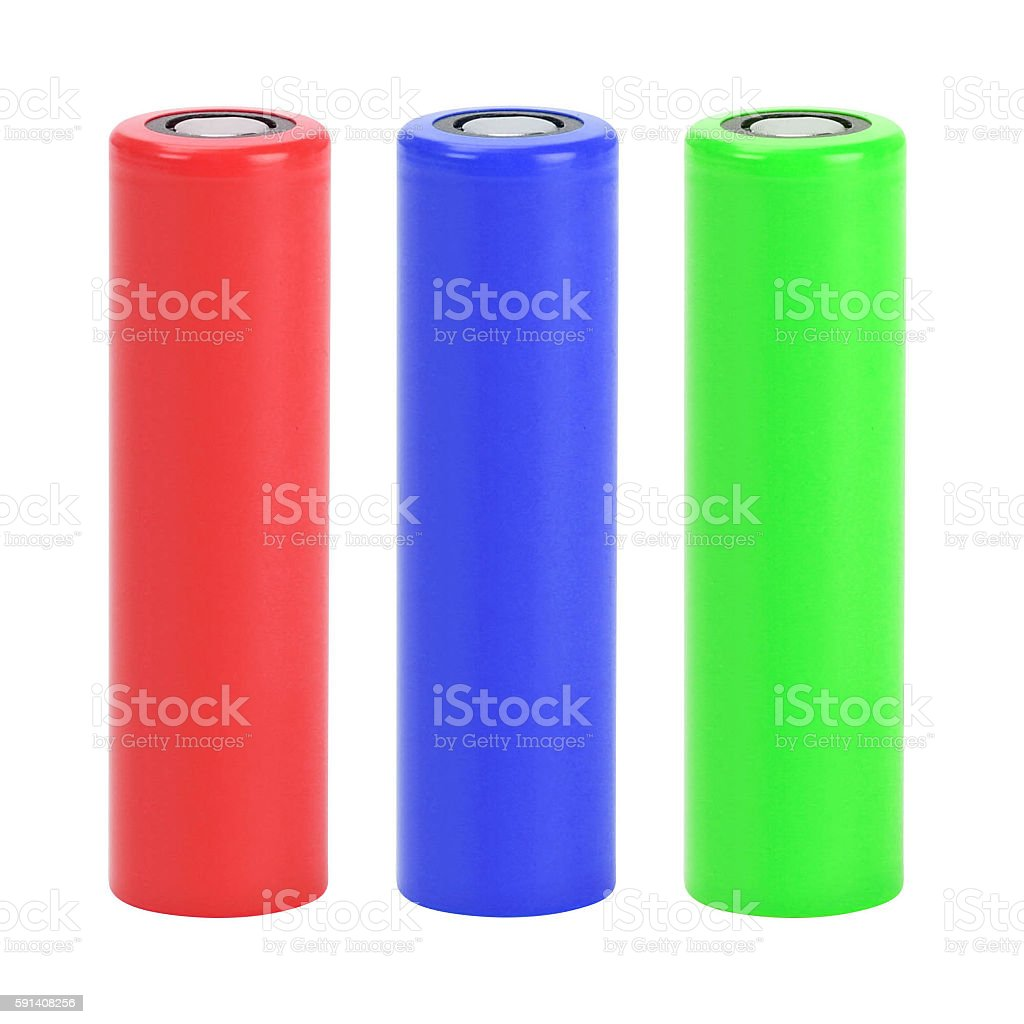 set a of AA size batteries on white background stock photo