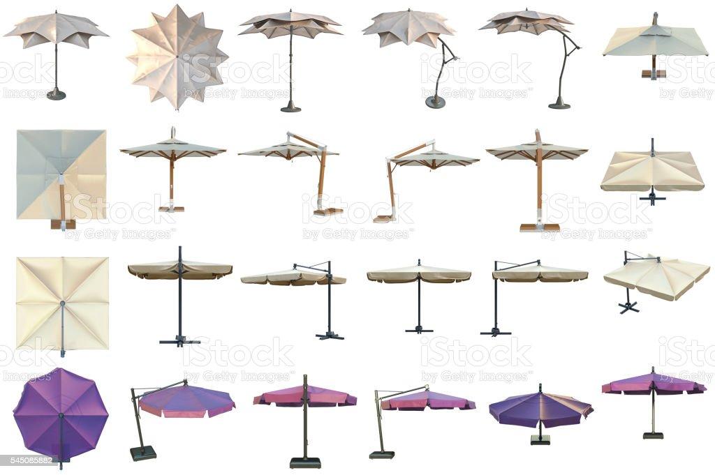 Set beach umbrella stock photo