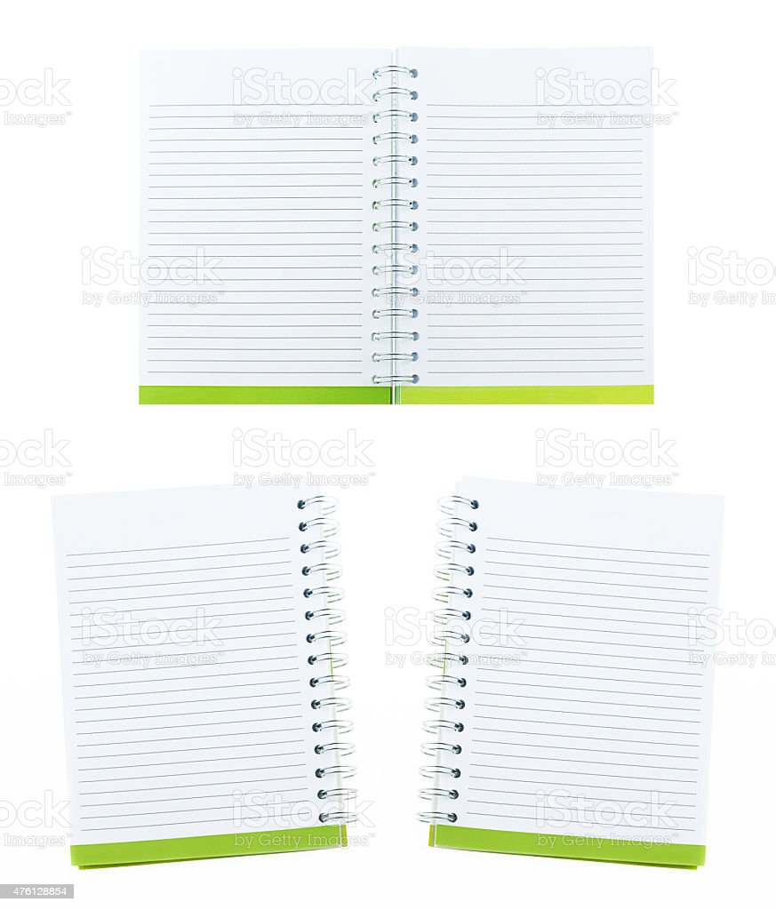 set blank note book and ring binder holes  on white stock photo