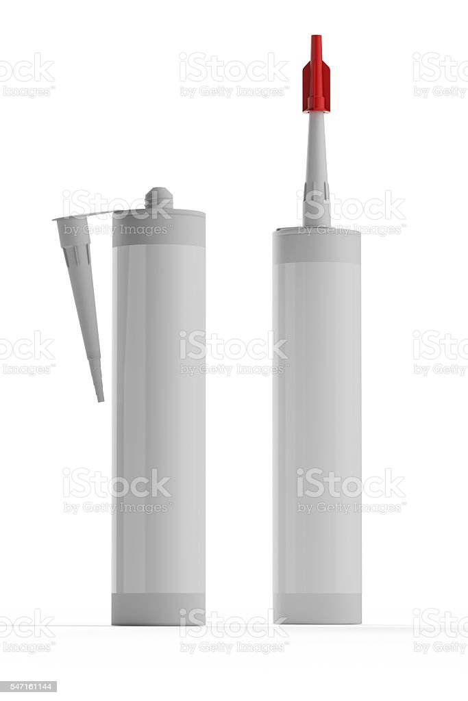 Set bottles with construction foam isolated on white background. stock photo