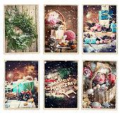 Set Christmas Different Cards Retro Photo Frame