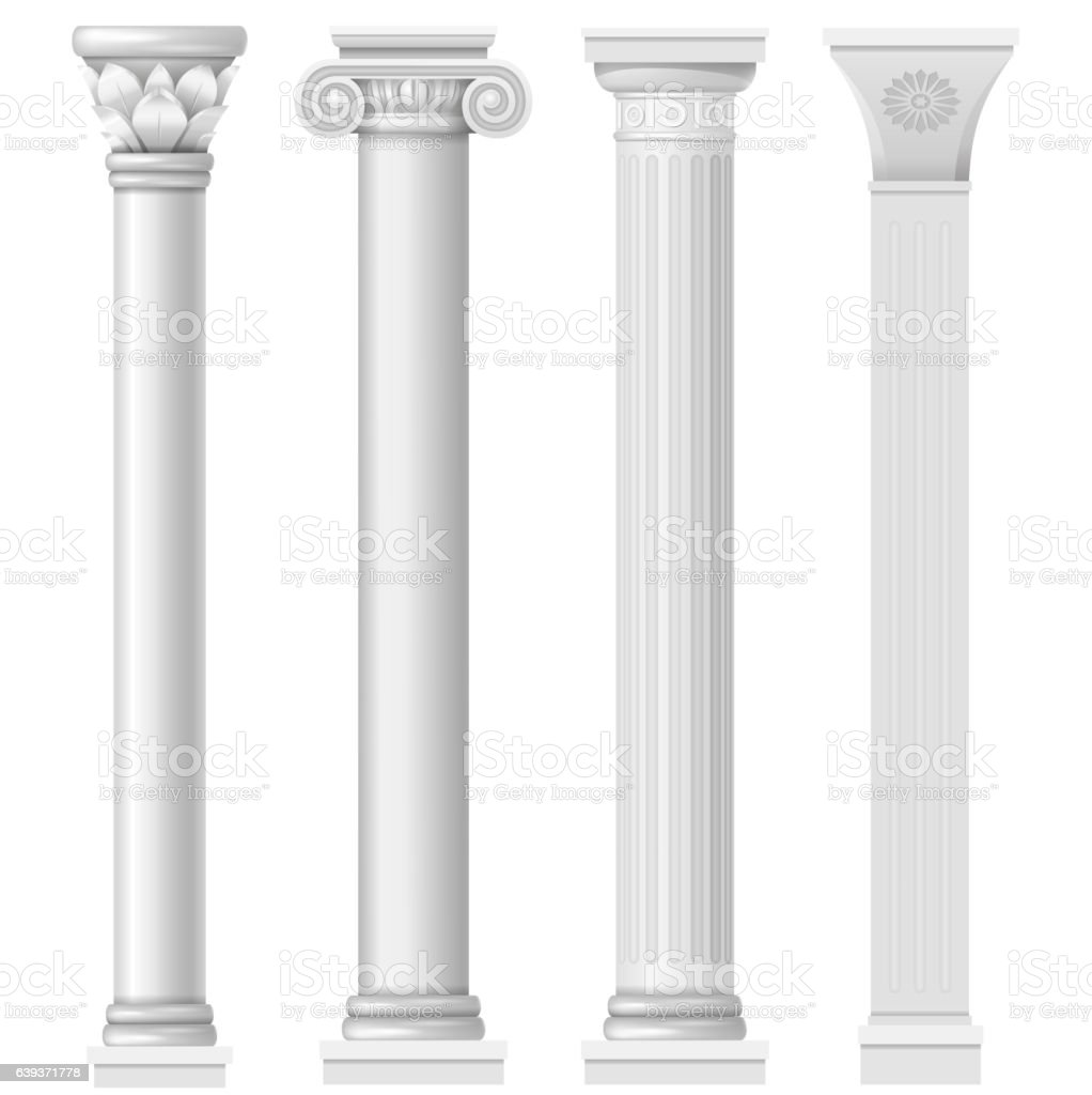 Set classical columns stock photo