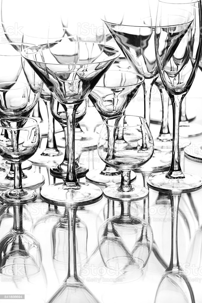 set cocktail of glasses on the white background stock photo
