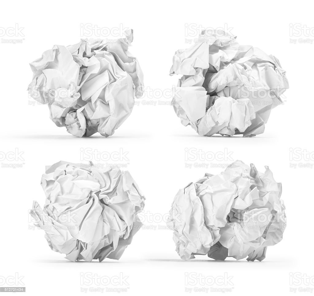 set crumpled into a ball of paper stock photo