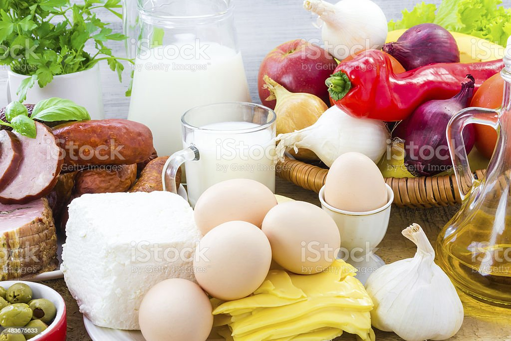 Set different foods healthy diet royalty-free stock photo