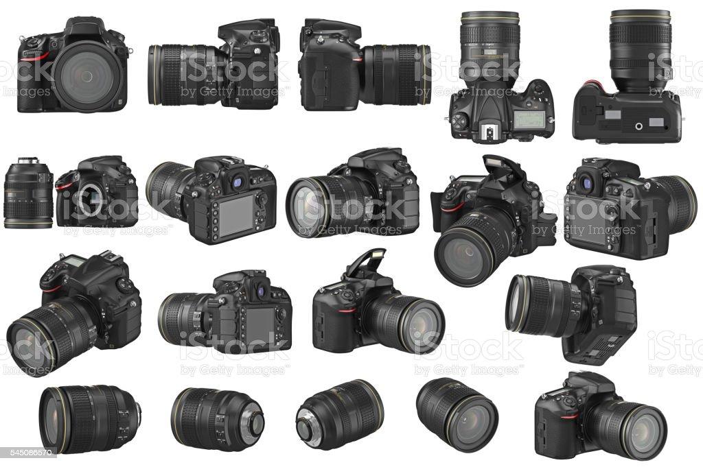 Set digital photo camera stock photo