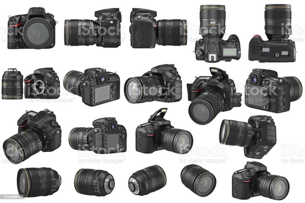 Set digital photo camera stock photo