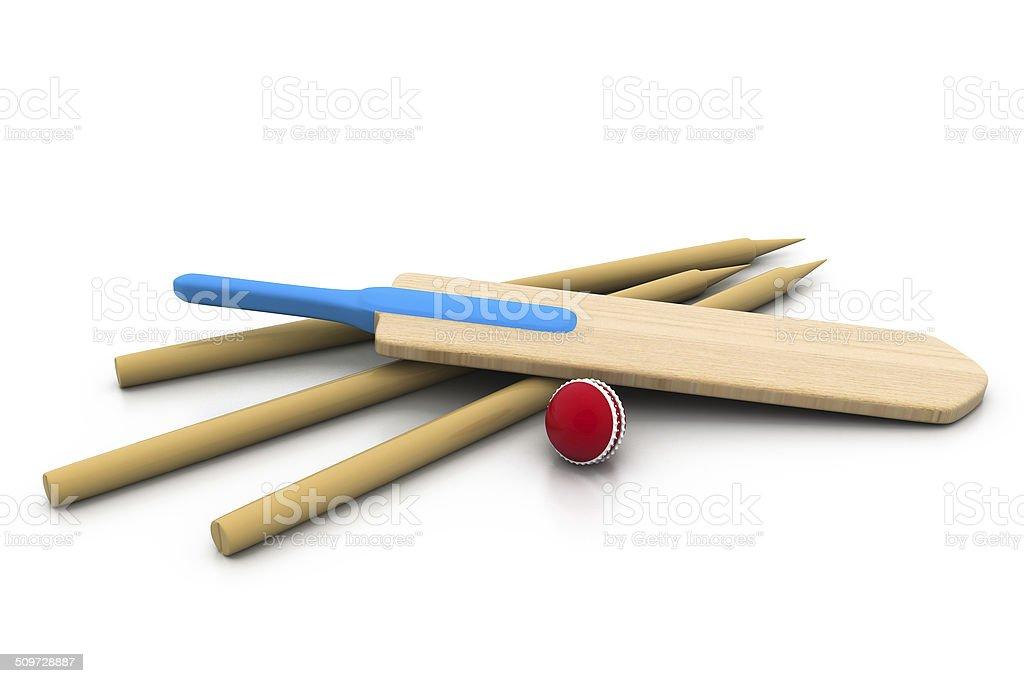 set equipment for cricket. stock photo