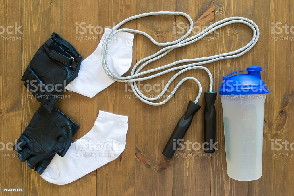 set for a hike to the gym stock photo