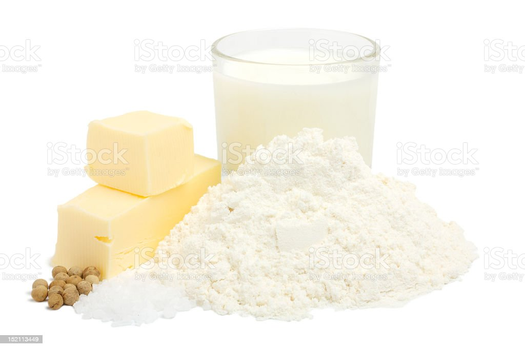 Set for bechamel sauce stock photo