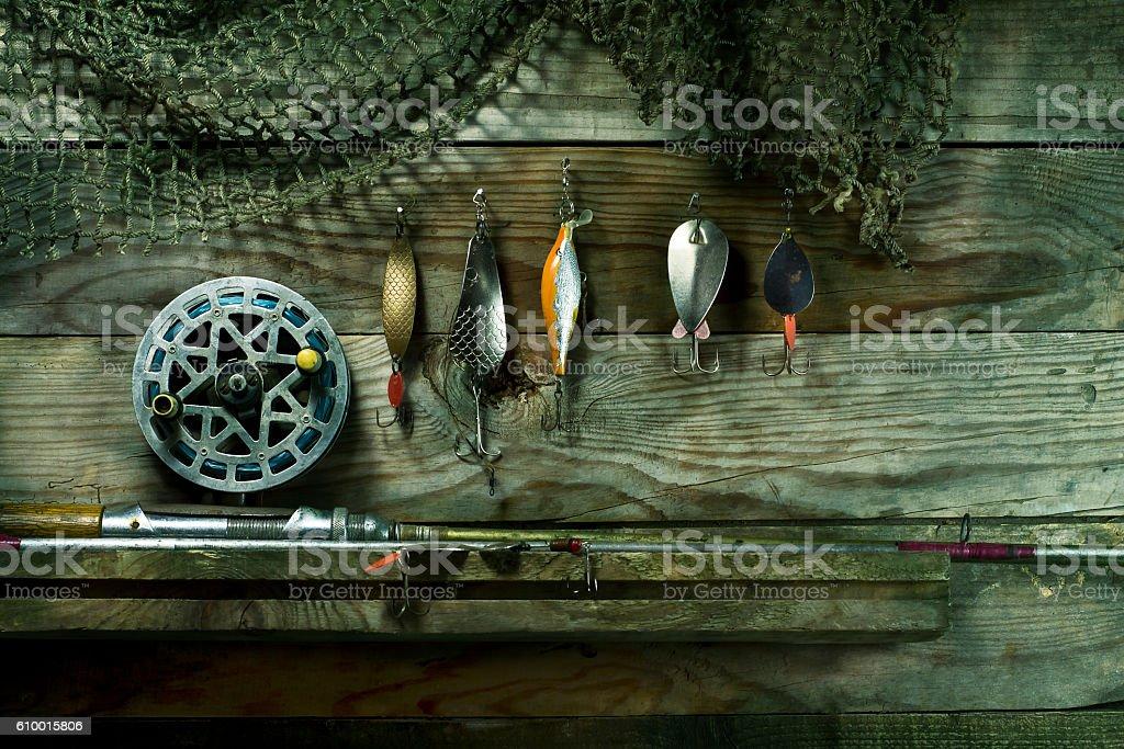 Set for fishing on the shelf. stock photo