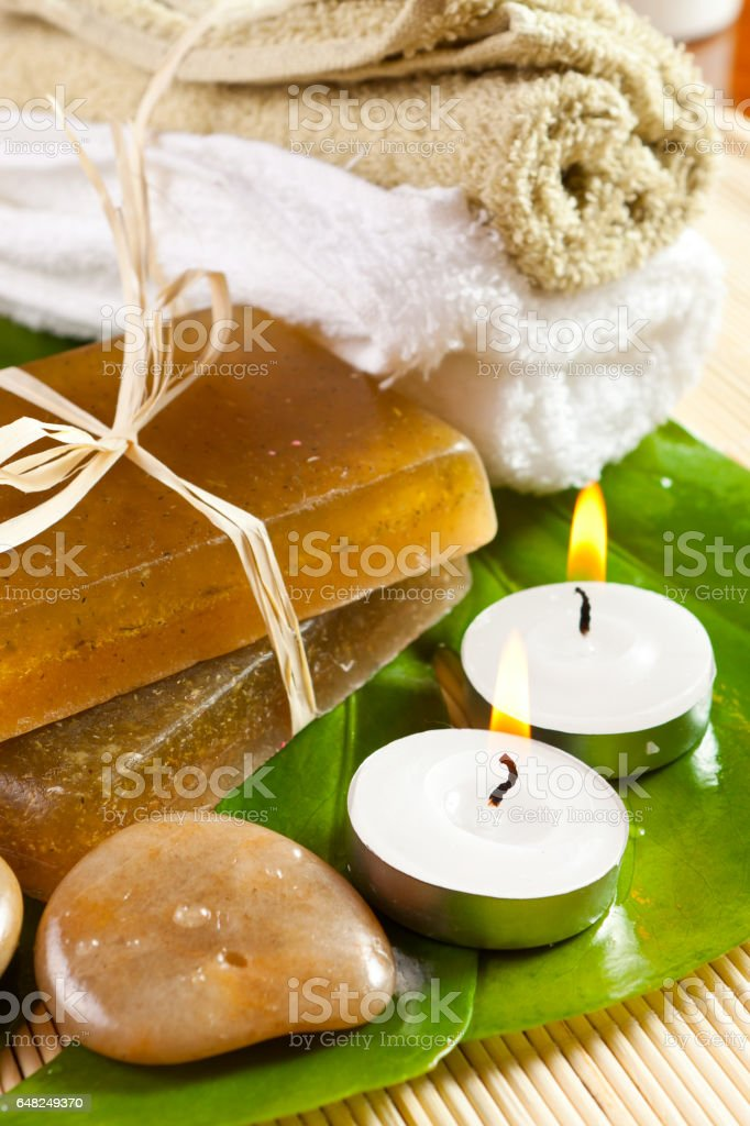 set for spa treatments stock photo