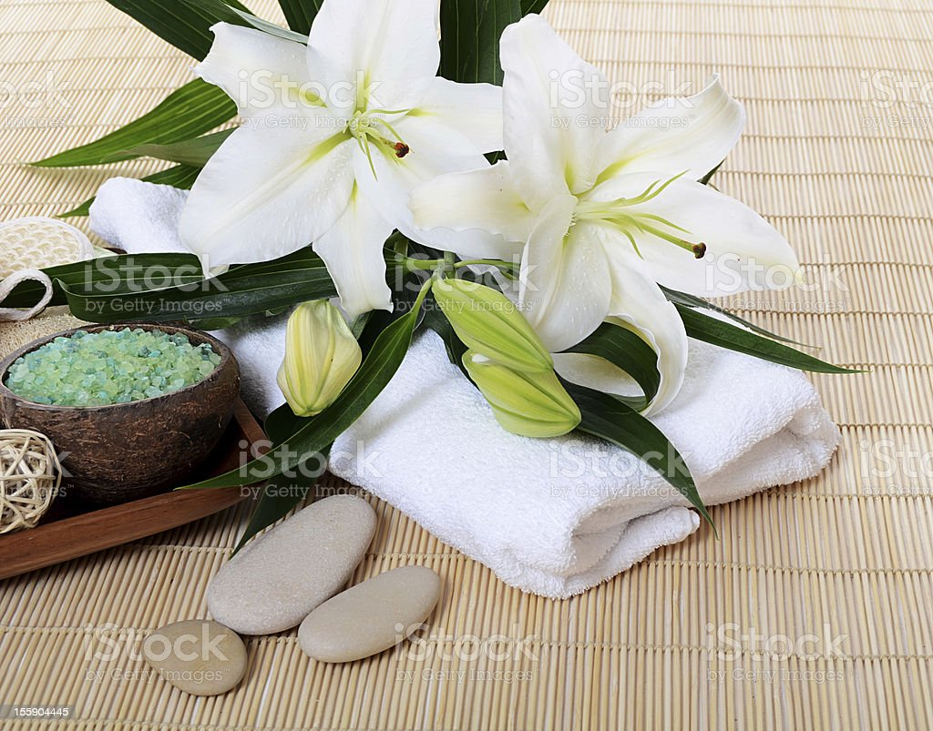 Set for spa-procedures on bamboo rug royalty-free stock photo