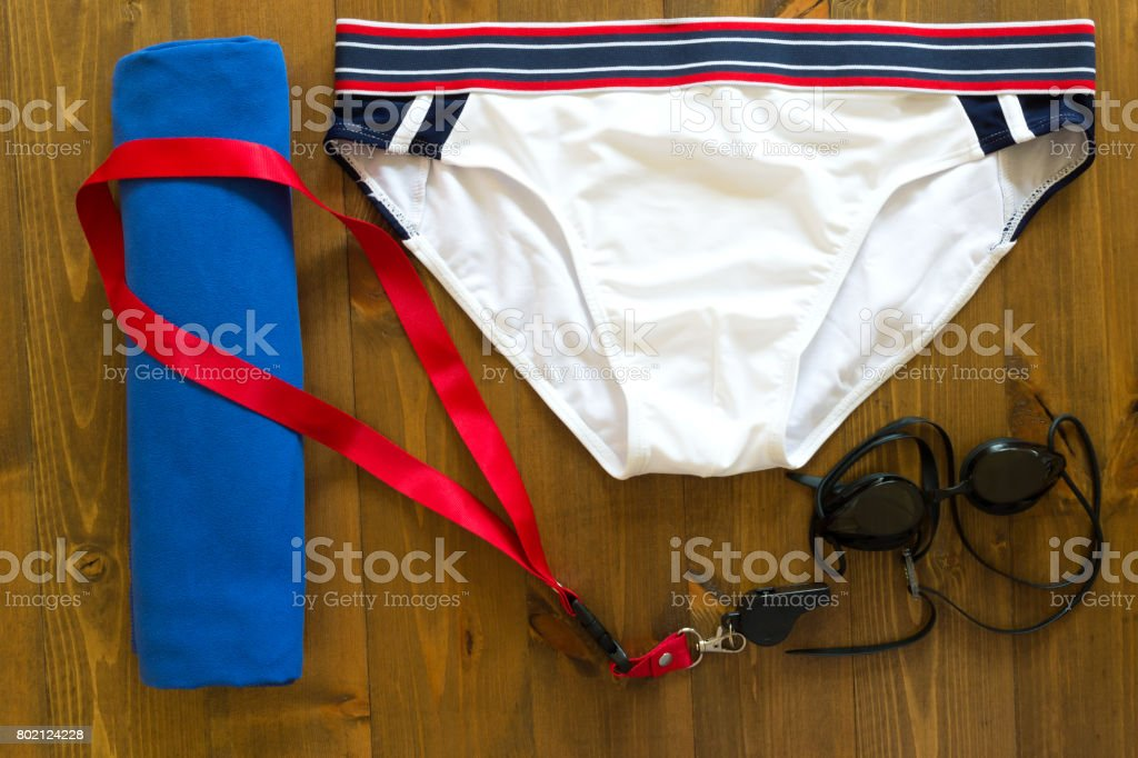 Set for swimming for a trainer on the table stock photo