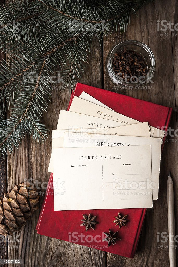 Set for writing Christmas wishes vertical stock photo