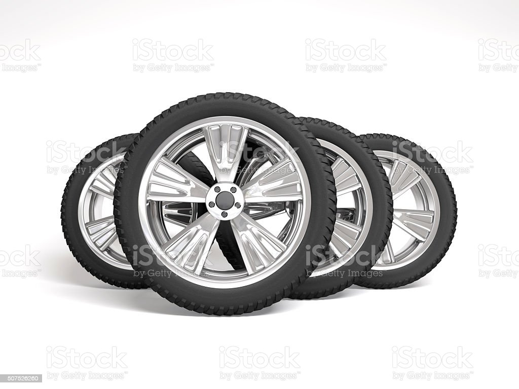 Set four tyres. 3d rendering stock photo