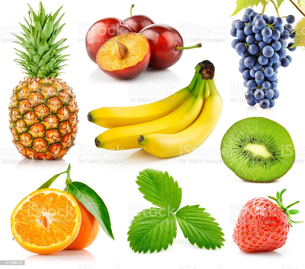 set fresh fruits with green leaves royalty-free stock photo