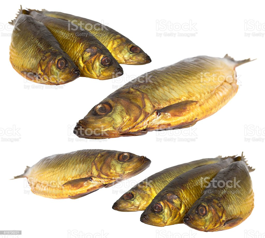 Set fresh sea fishes lie nearby on a white background stock photo