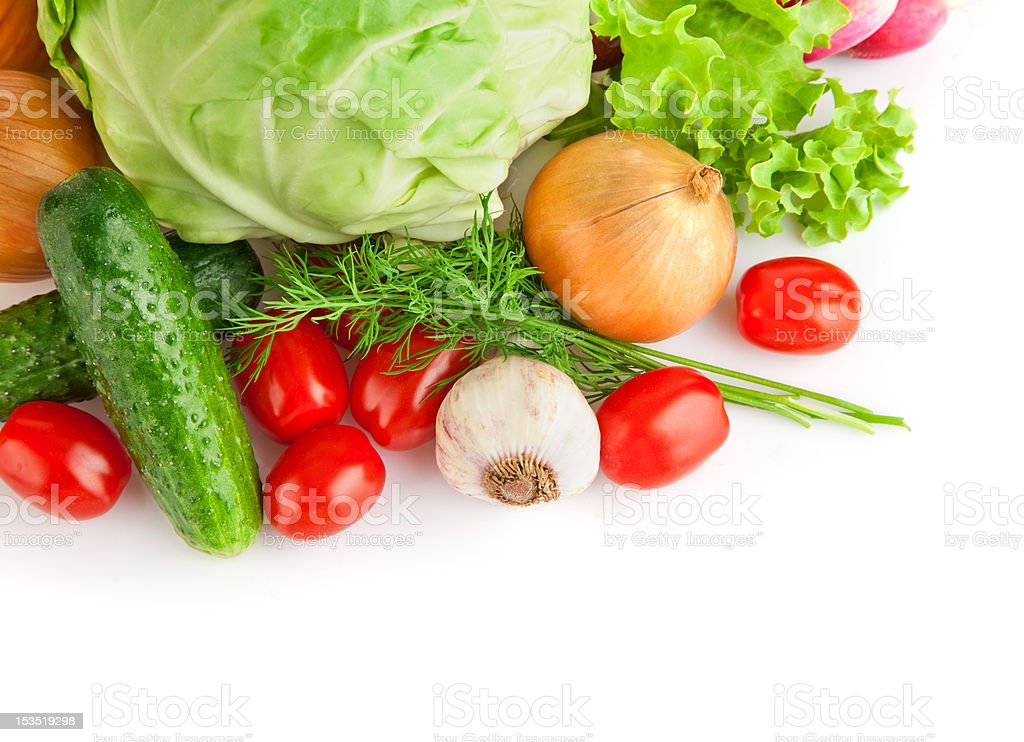 set fresh vegetables with green leaves royalty-free stock photo