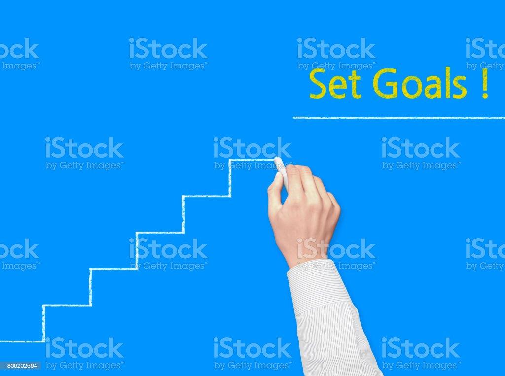 Set Goals! - Business Chalkboard Background stock photo
