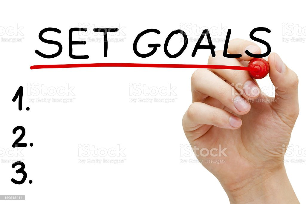 Set Goals Hand Red Marker stock photo