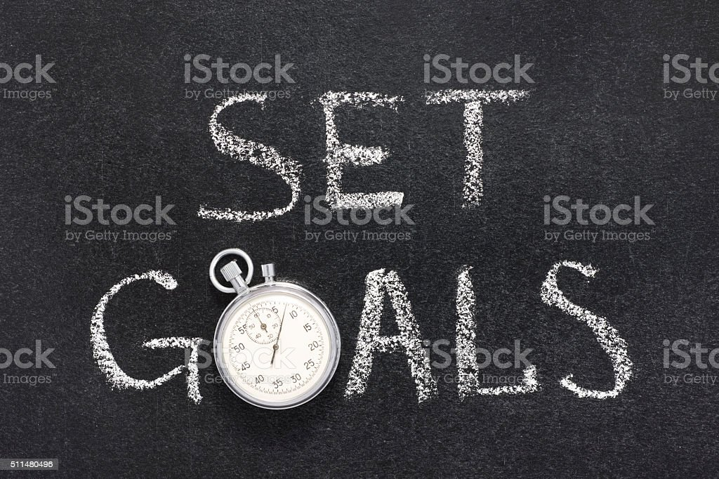 set goals watch stock photo