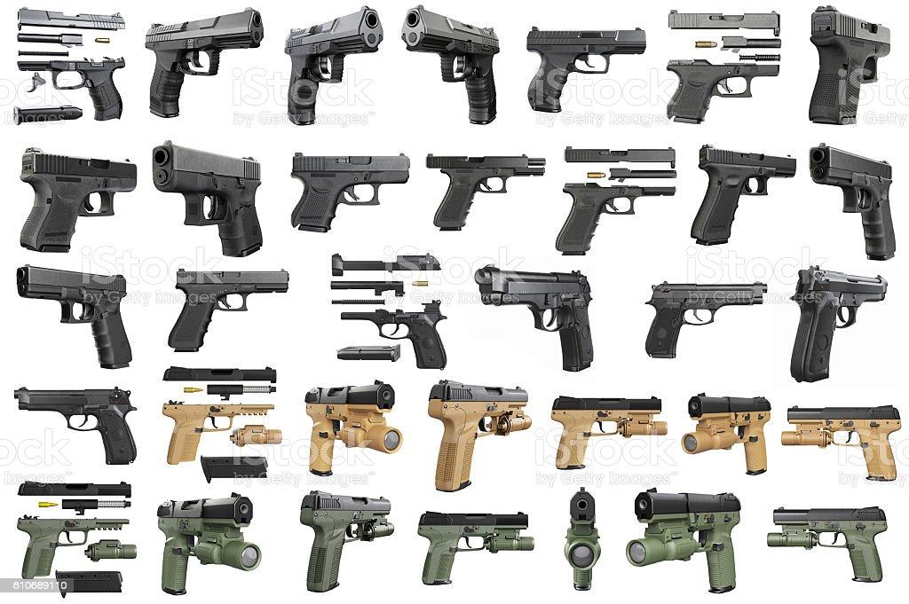 Set guns police, military stock photo
