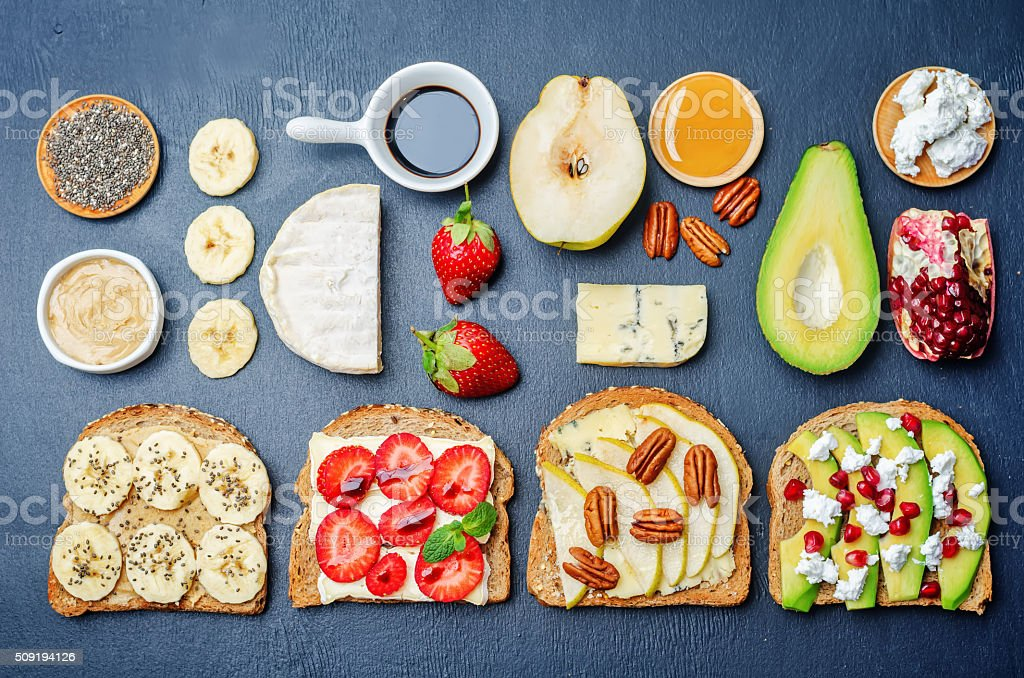 set healthy sandwiches with vegetables and fruits with the ingredients stock photo