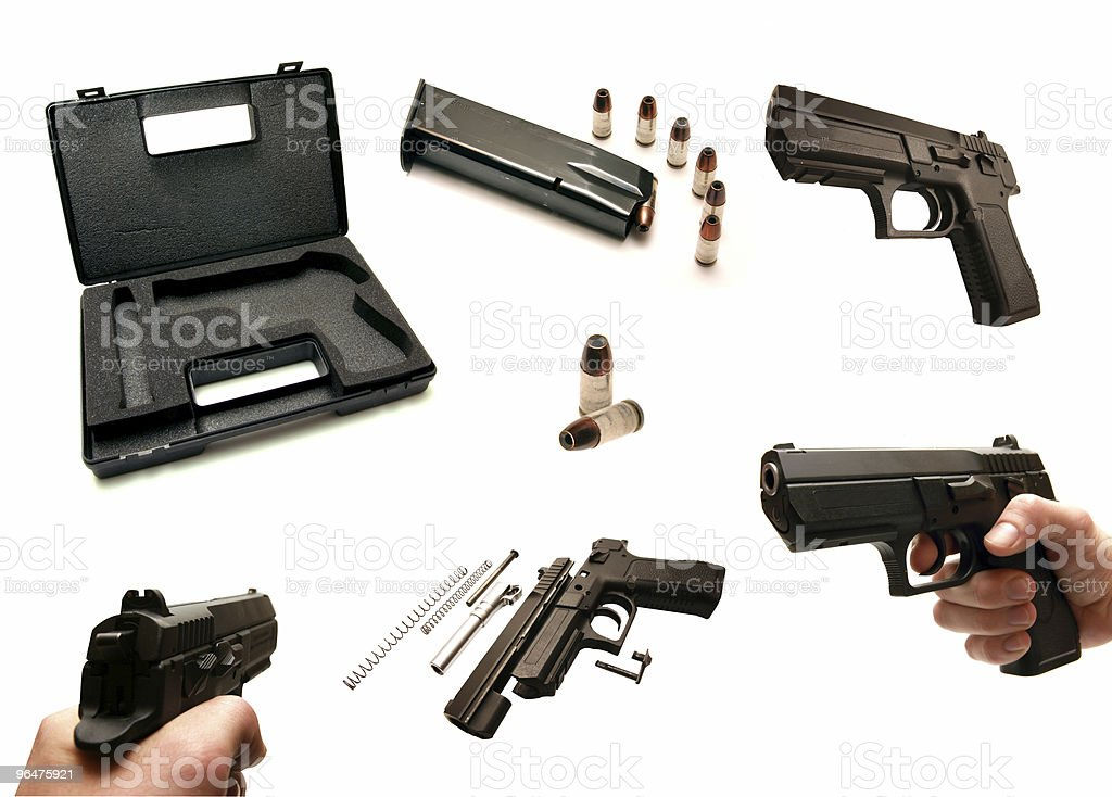 Set - Isolated photos of a handgun royalty-free stock photo