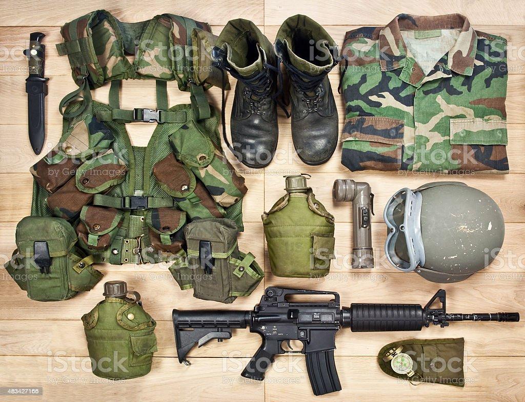 set military equipment of the 20th century stock photo