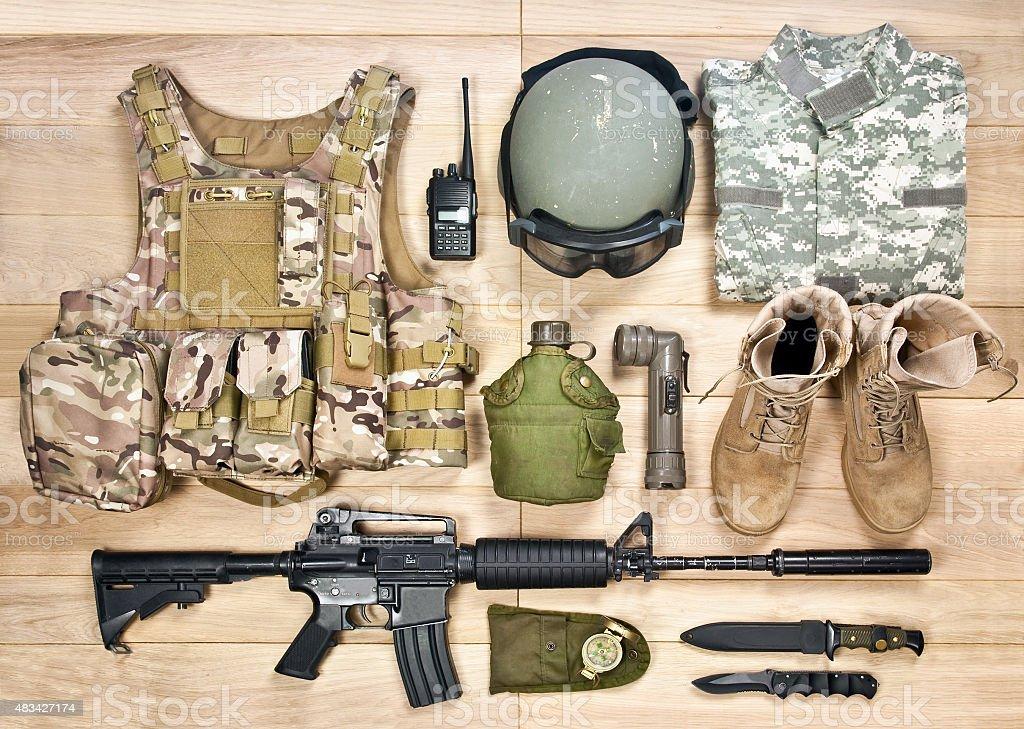 set military equipment of the 21st century stock photo