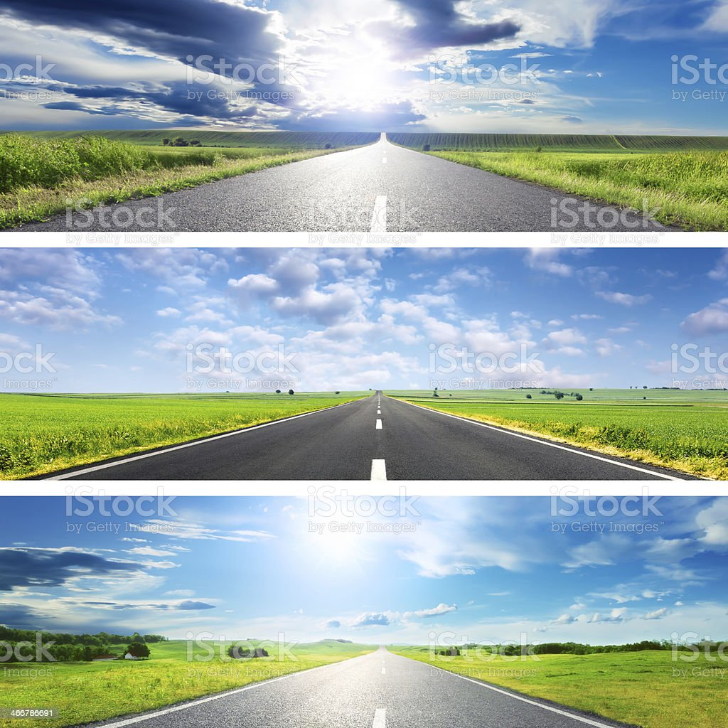Set o the three spring roads for banners stock photo