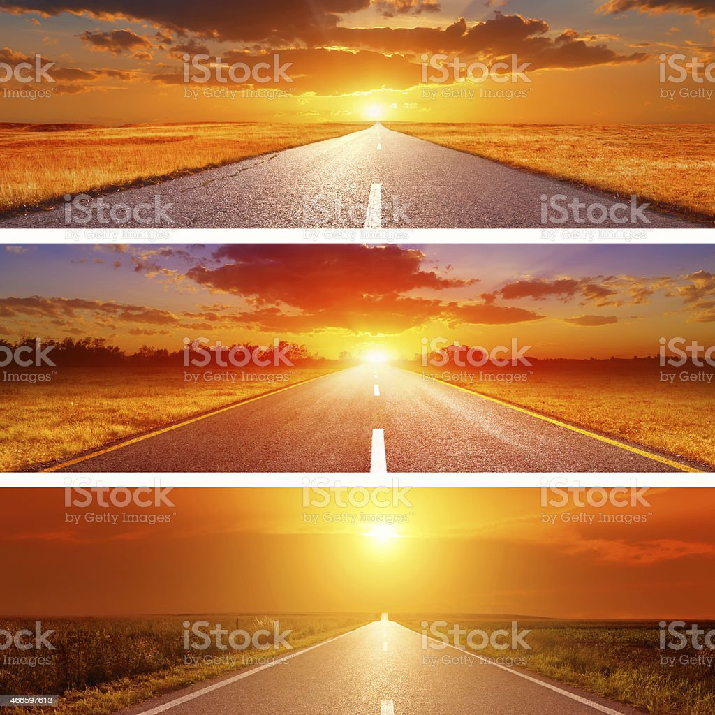 Set o the three summer roads for banners stock photo