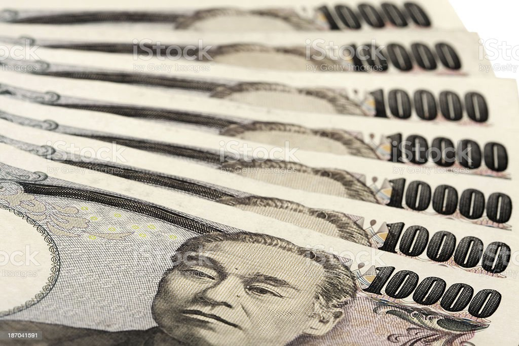 Set of 10000 Japanese yen royalty-free stock photo