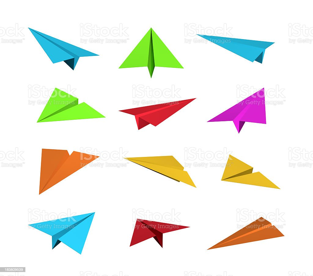 Set of 12 color paper airplanes isolated on white background royalty-free stock photo
