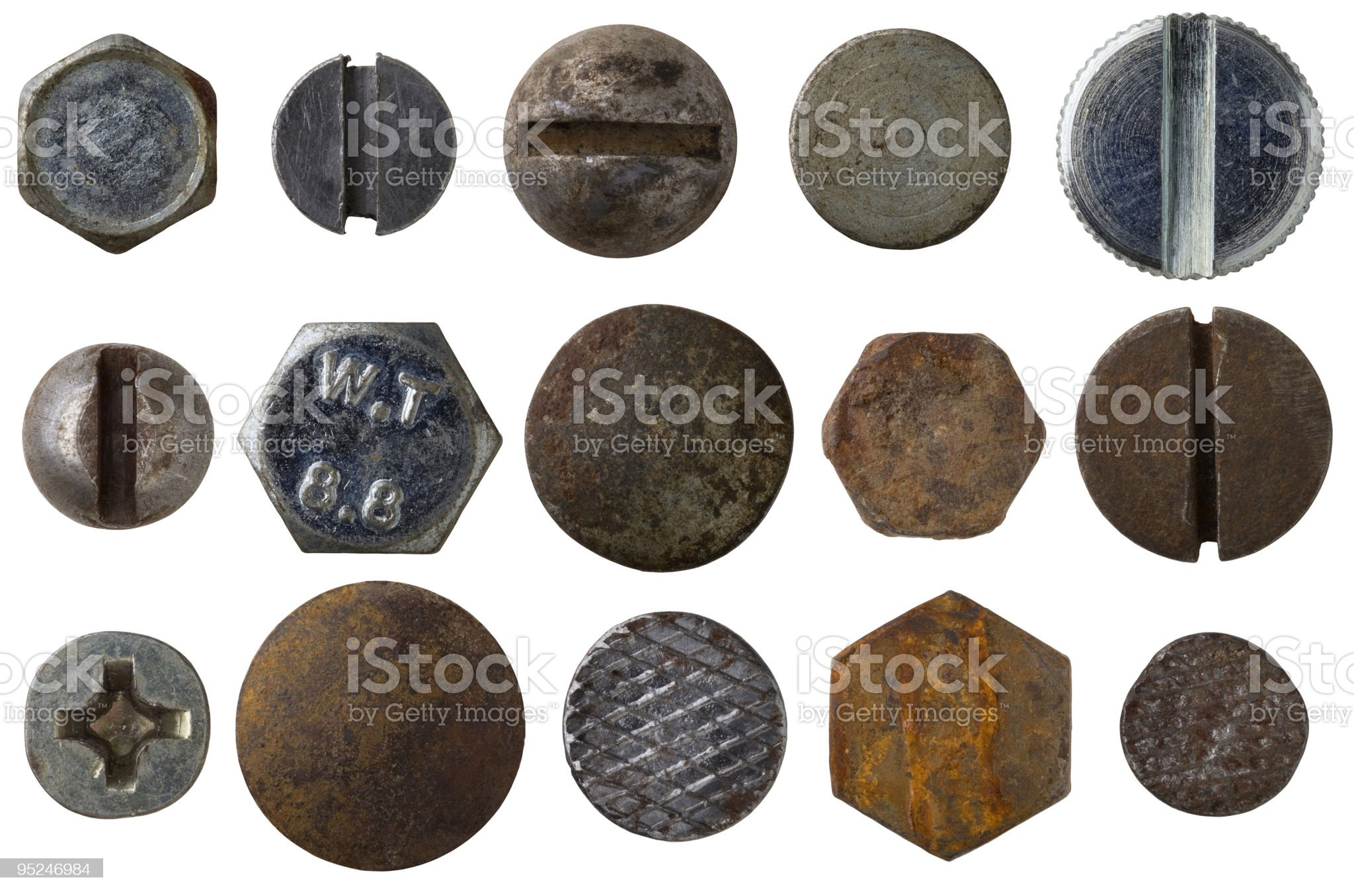 Set of 15 screw and bolt heads on white background royalty-free stock photo