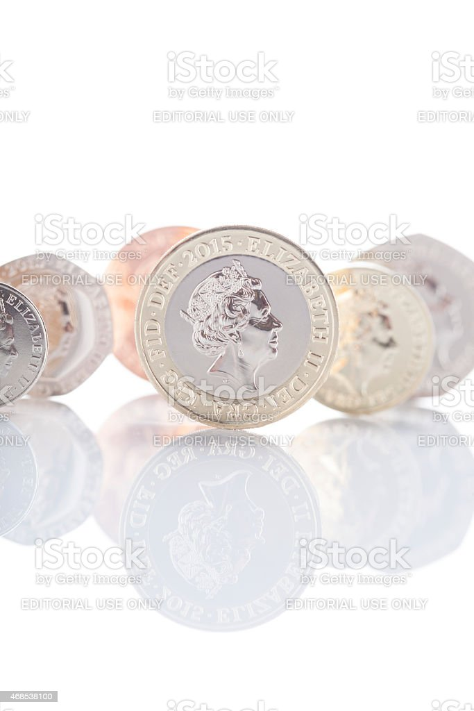 Set Of 2015 British Coins - Revised Queen's Head stock photo