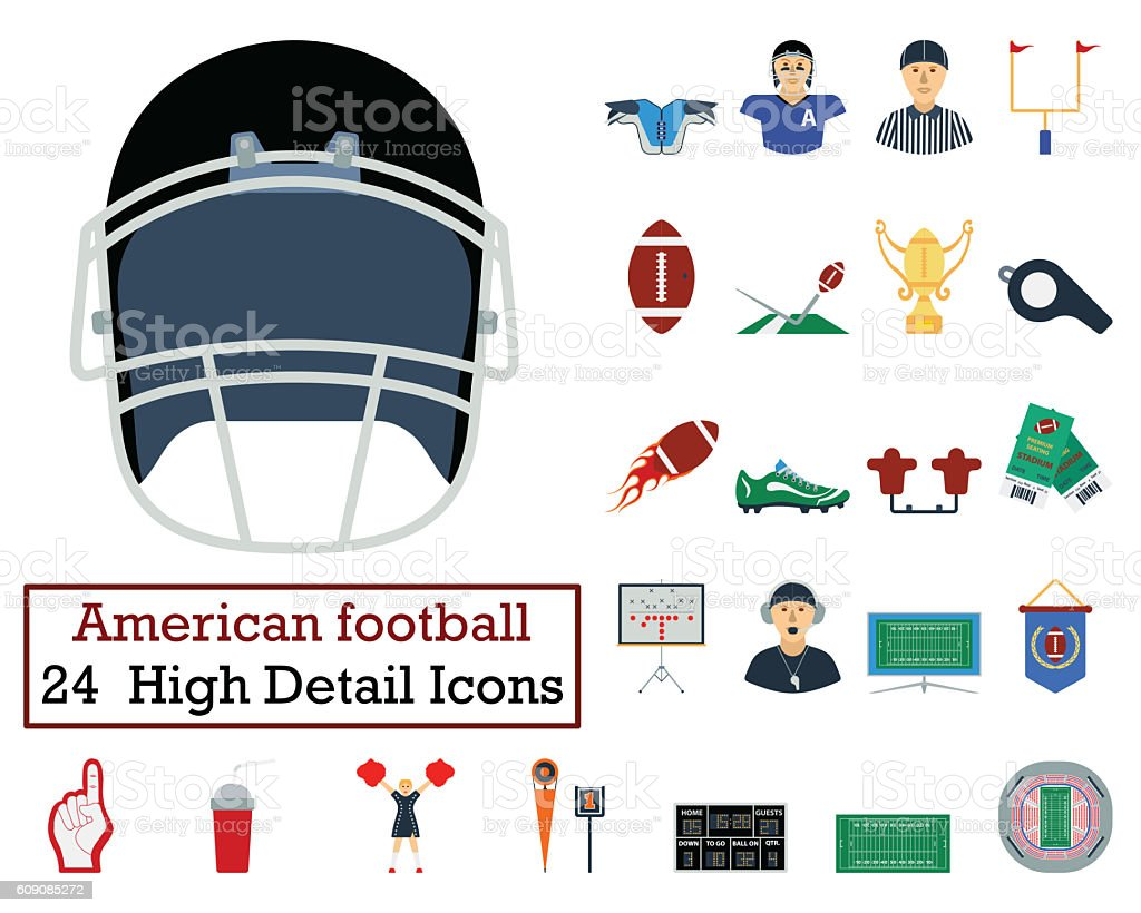 Set of 24 American football Icons stock photo