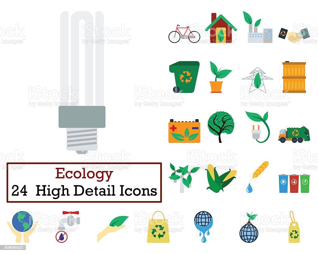 Set of 24 Ecology Icons stock photo