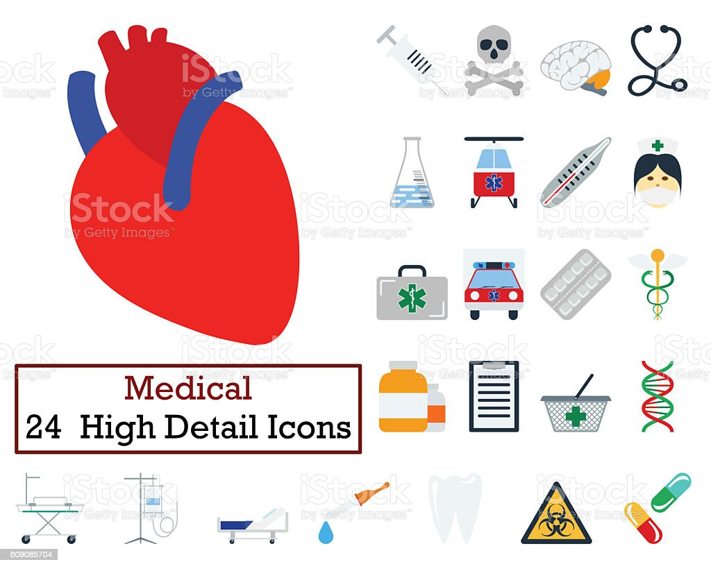 Set of 24 Medical icons stock photo