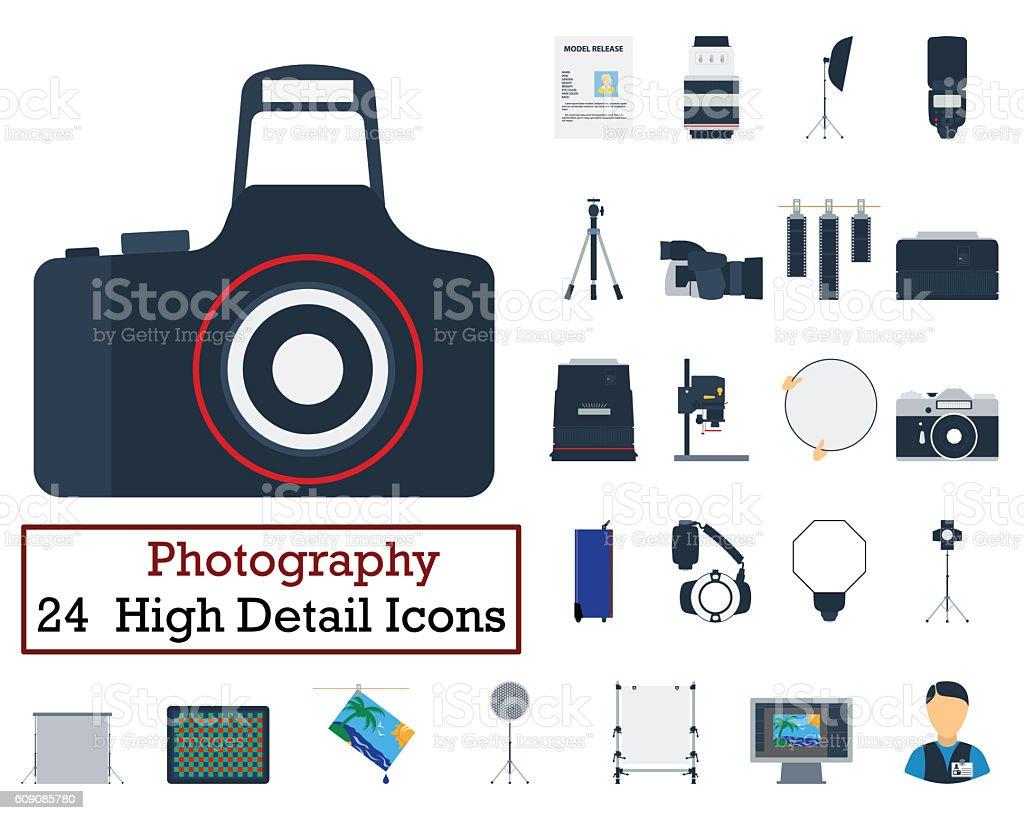 Set of 24 Photography Icons stock photo