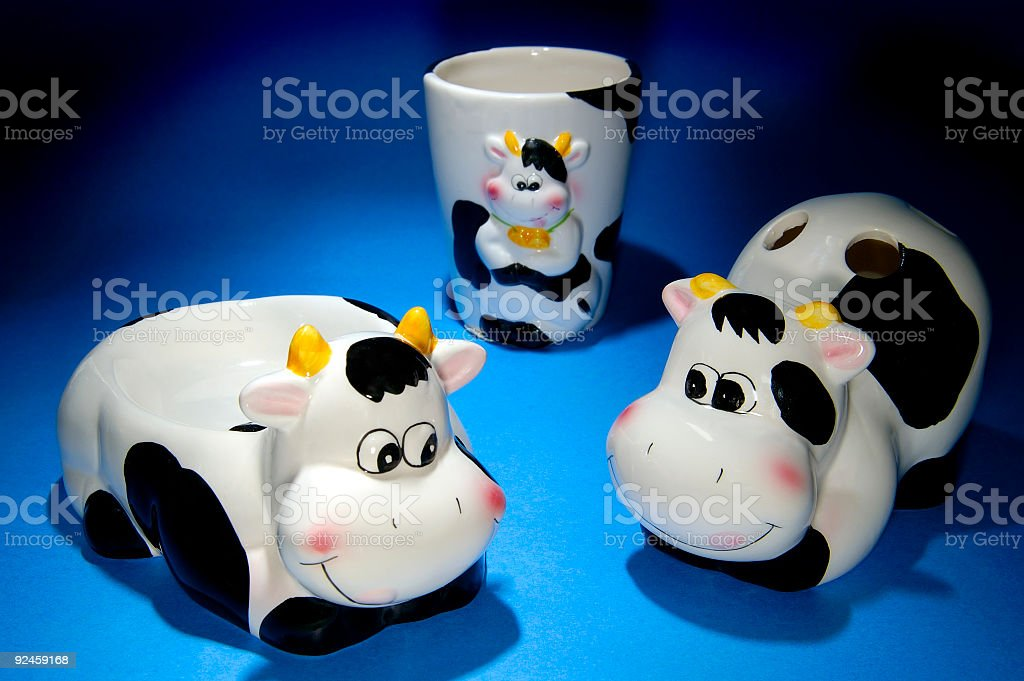 Set of 3 Cow Bathroom Items royalty-free stock photo