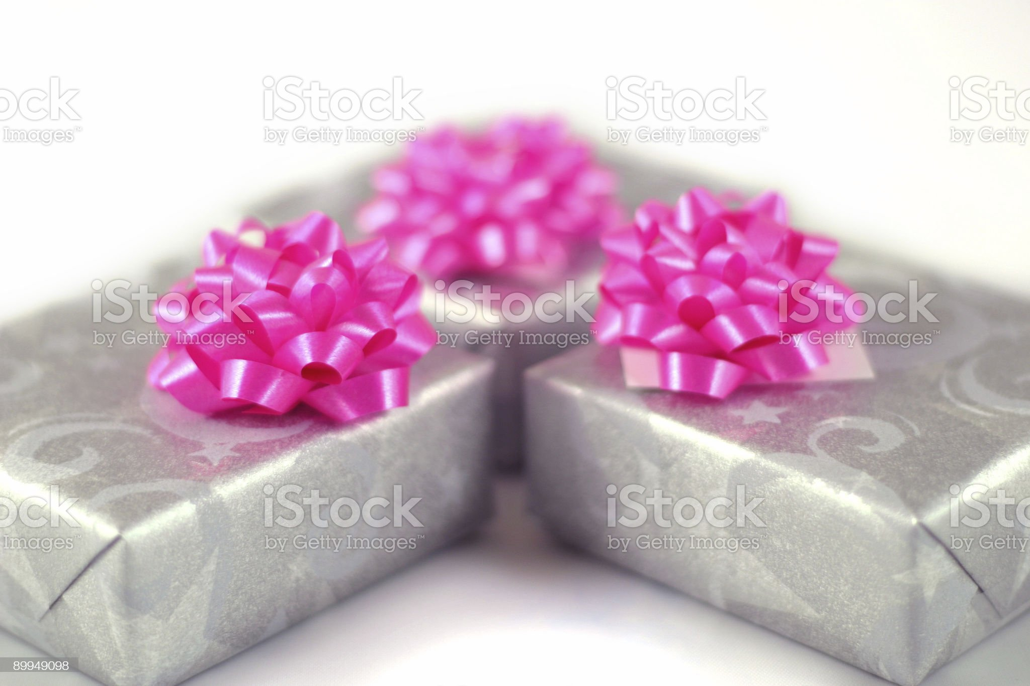 Set of 3 gift wrapped presents royalty-free stock photo