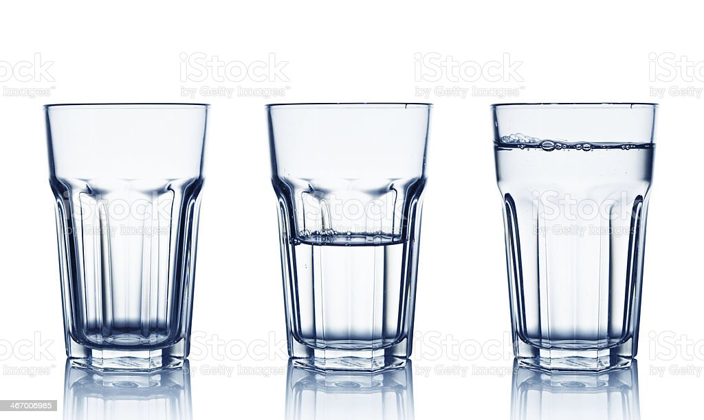 Set of 3 glasses with water in varying measurements stock photo