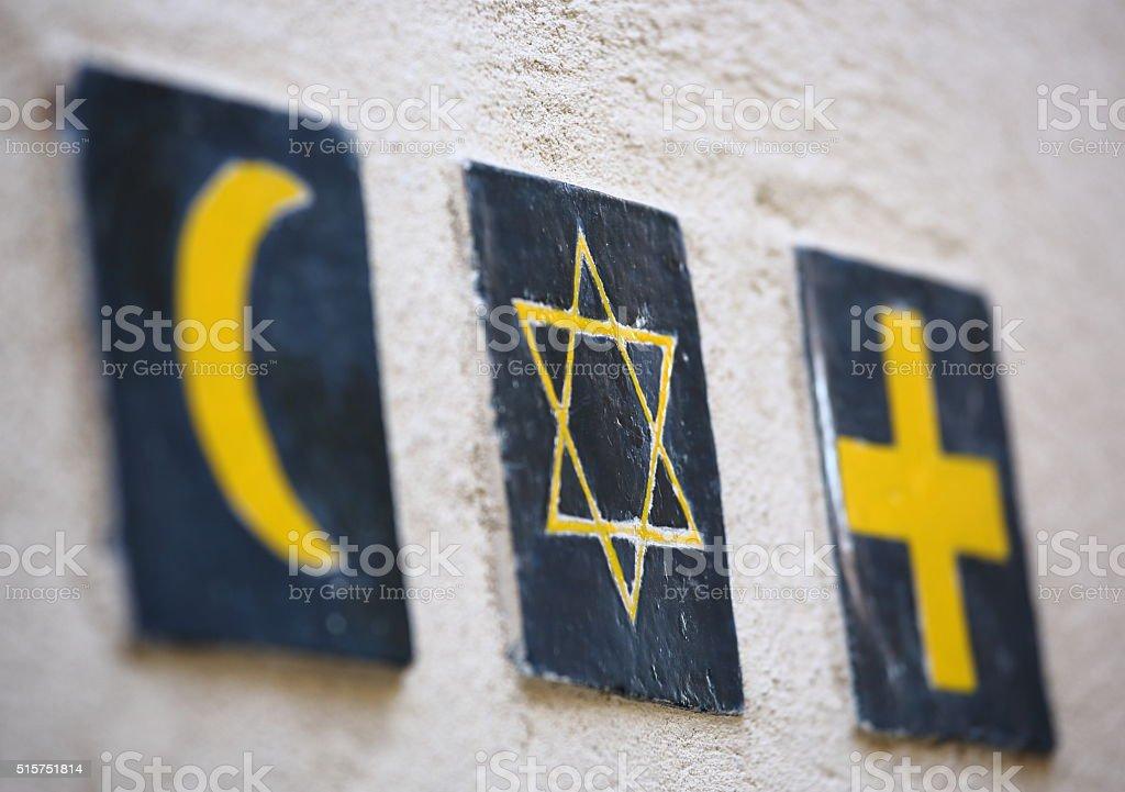 Set of 3 religious symbols stock photo