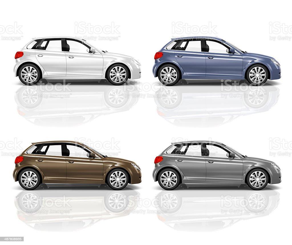 Set of 3D Hatchback Car stock photo
