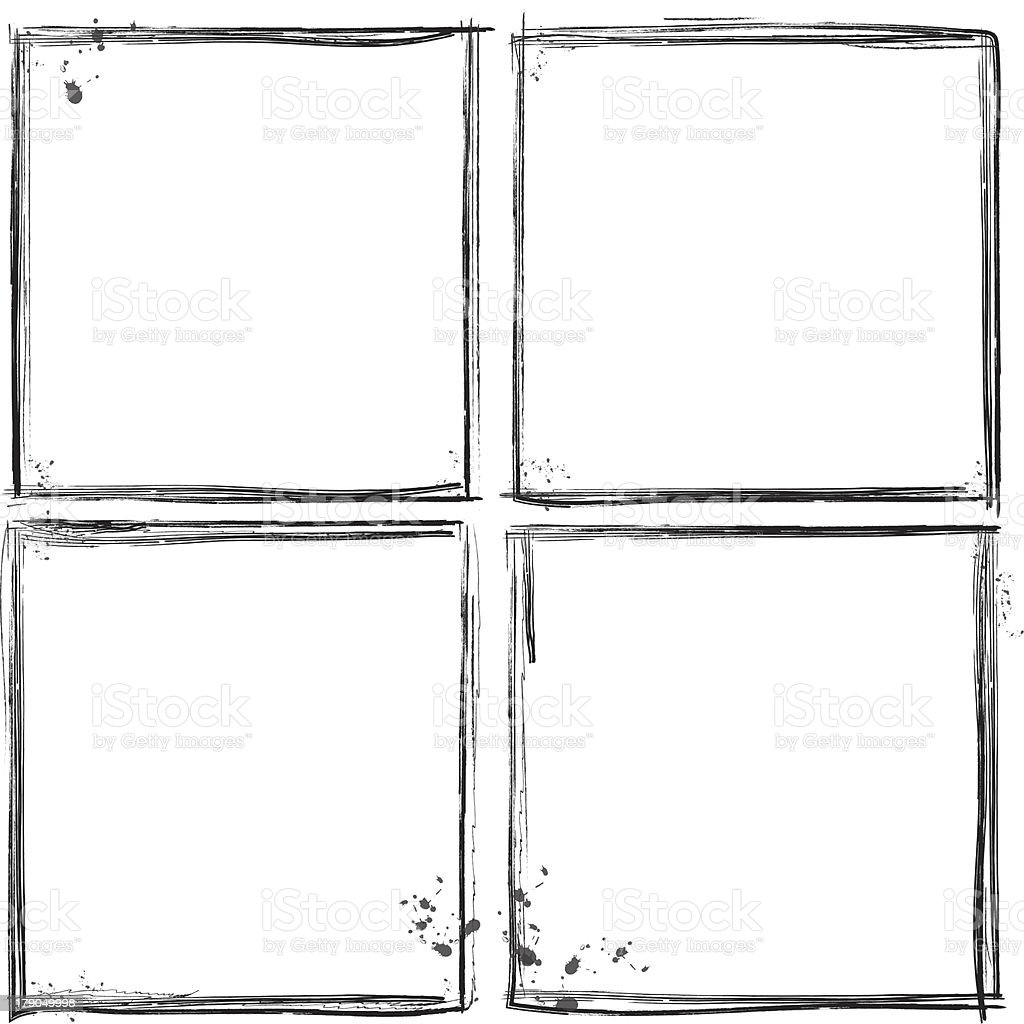 Set of 4 black rough splatter frames on white stock photo