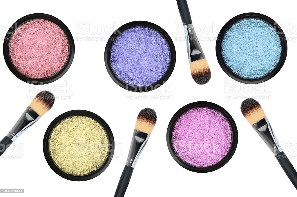 set of 5 eyeshadows and brushes isolated on white background royalty-free stock photo