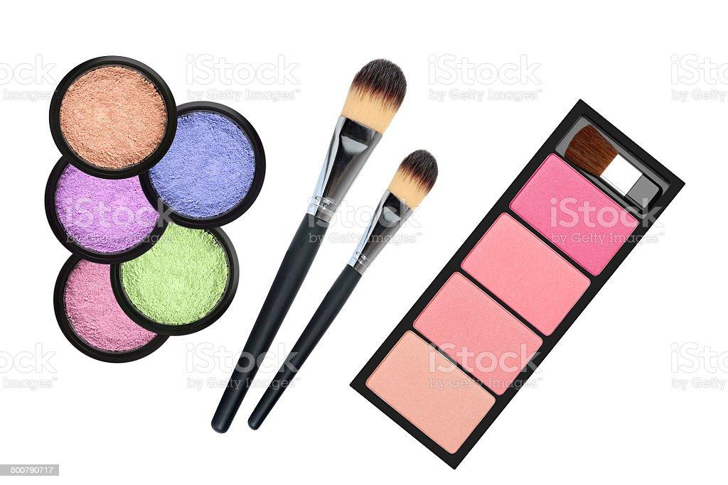 set of 5 eyeshadows and brushes isolated on white background royalty-free stock photo